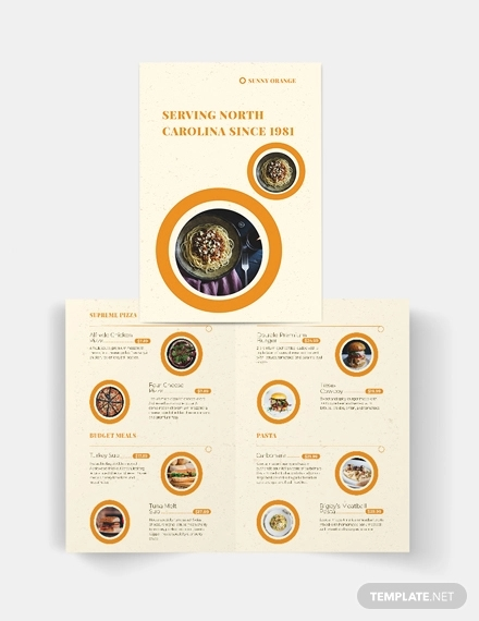 fast food bi fold brochure template