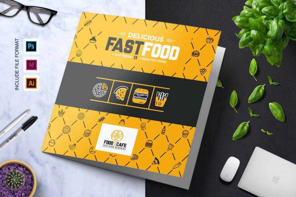 fast food restaurant business food menu food list tri fold brochure
