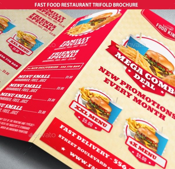 fast food restaurant tri fold brochure example