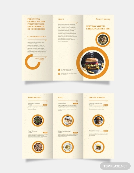 fast food tri fold brochure template