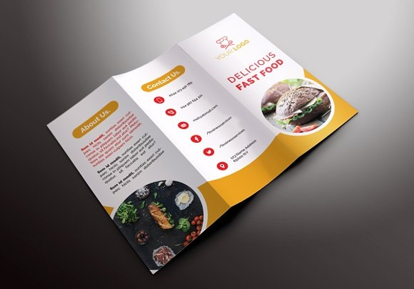 fast food tri fold brochure design example