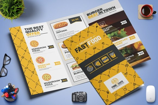 fast food tri fold brochure example
