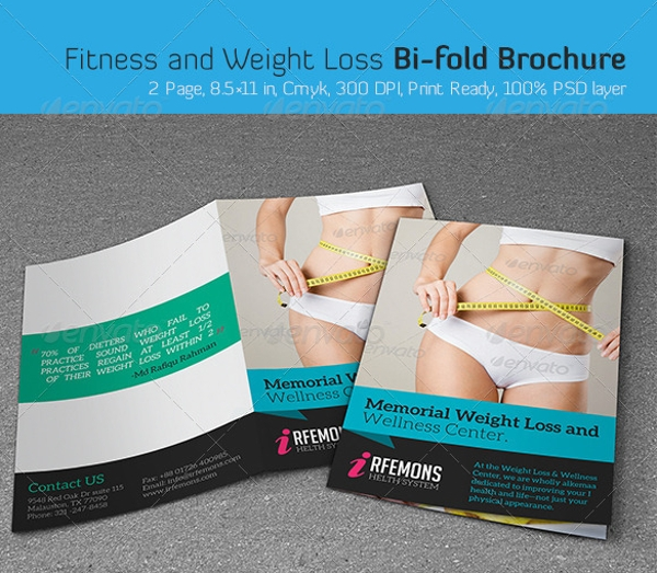 fitness and weight loss bi fold brochure