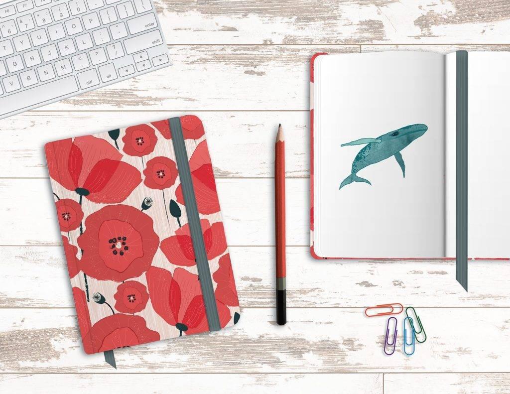 floral notebook mock up design