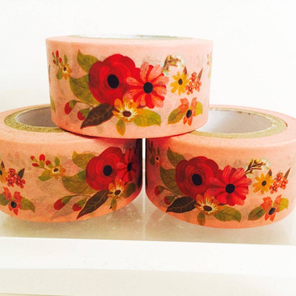 floral washi tape cover for notebook