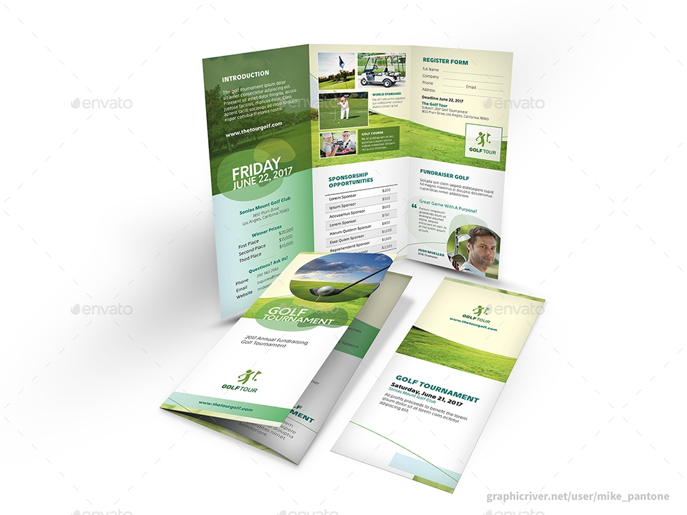 fully editable golf trifold brochure