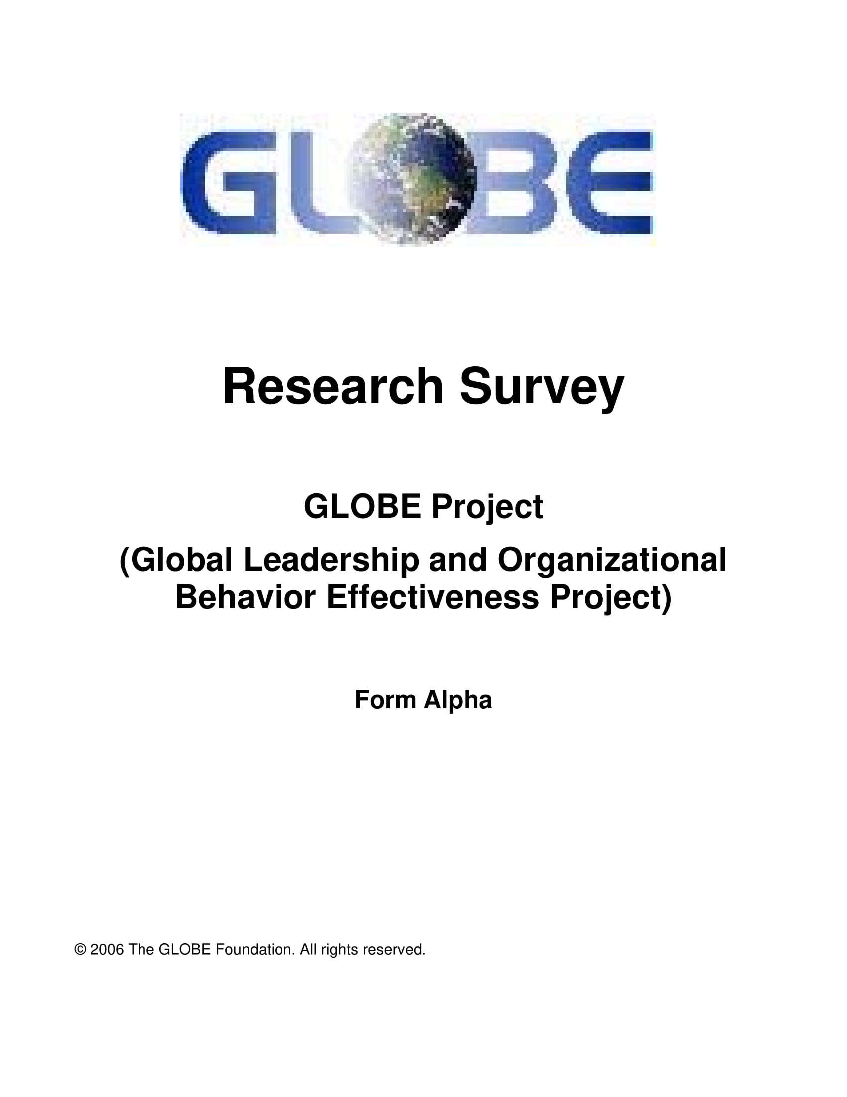 globe phase 2 alpha questionnaire 2006 01