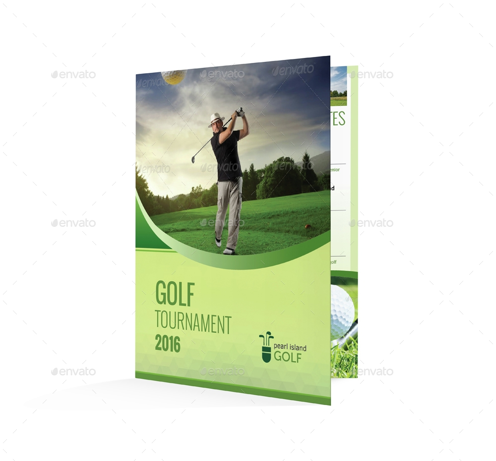 golf club bifold or halffold brochure