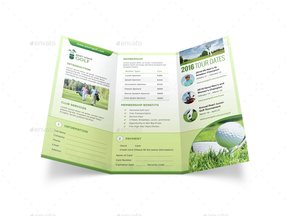 golf club trifold brochure