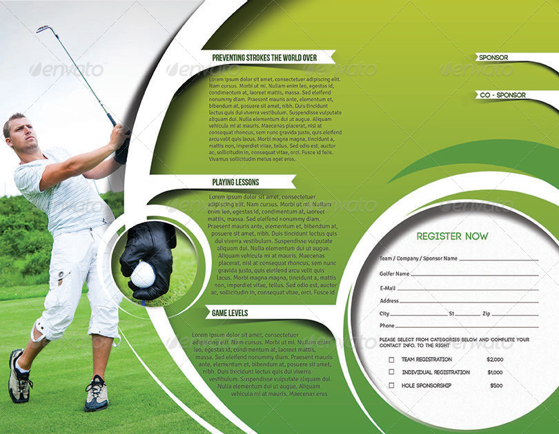 golf tournament trifold brochure template