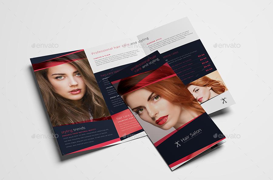 hair salon tri fold brochure