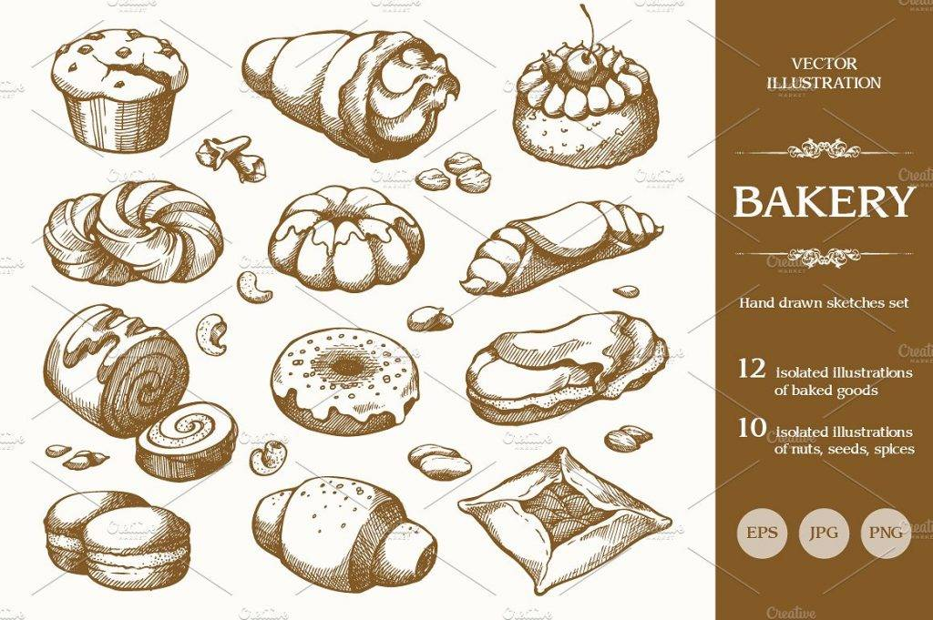 hand drawn bakery set design example