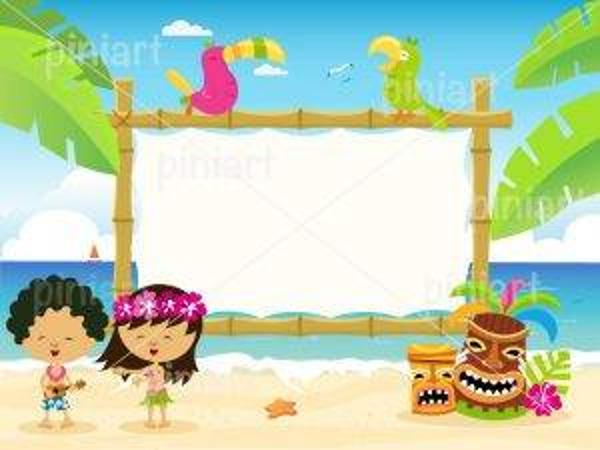 hawaiian billboard vector with kids