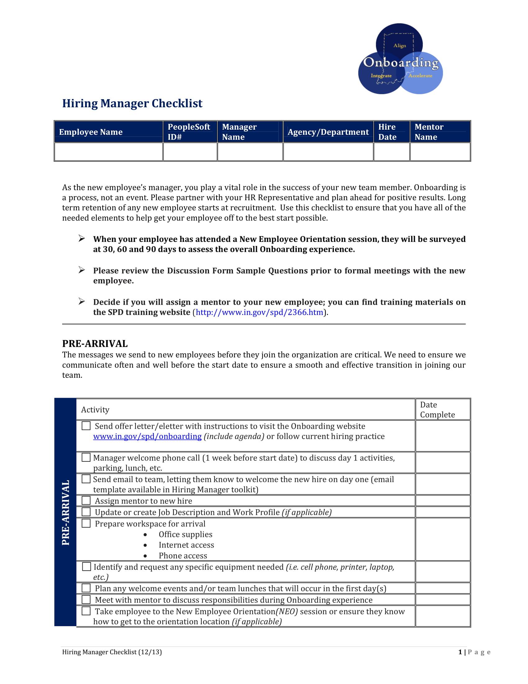 hiring manager checklist