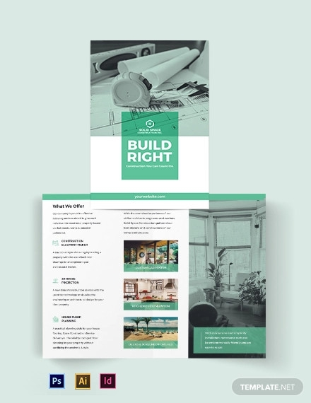 home construction company bi fold brochure template