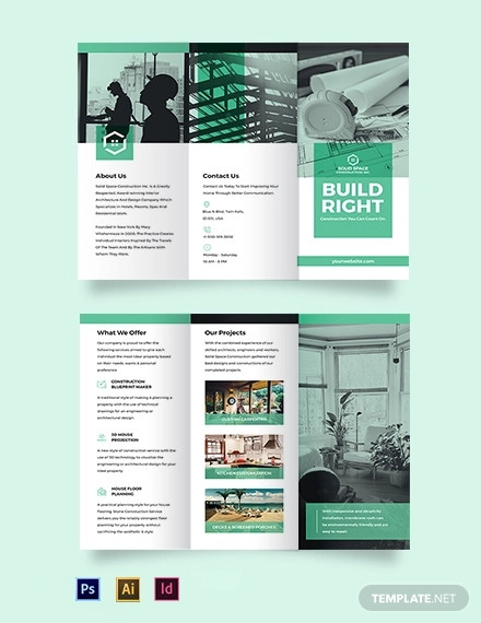 home construction company tri fold brochure template
