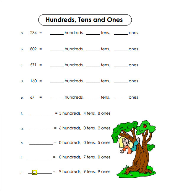 hundreds tens and ones sample worksheet
