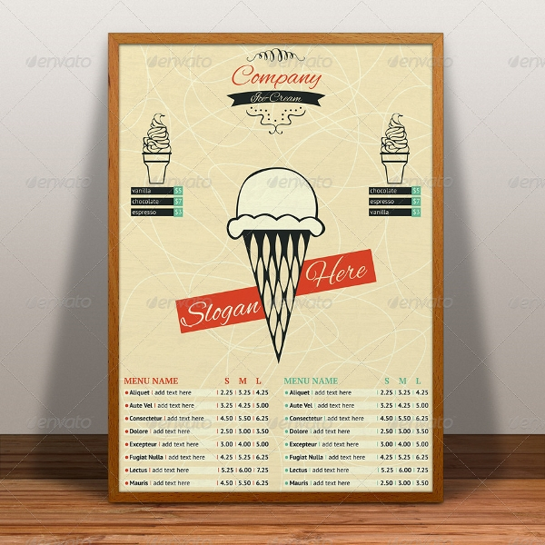 ice cream menu flyer template