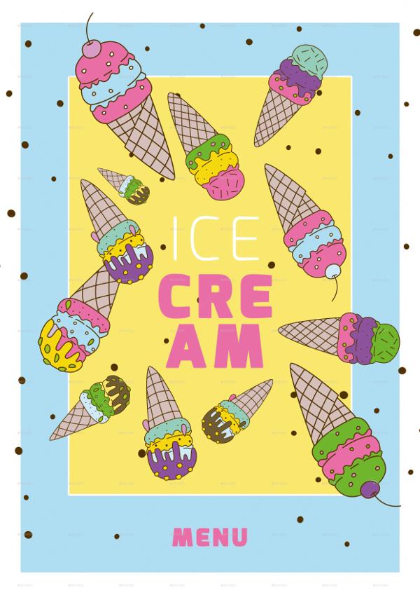 ice cream menu poster