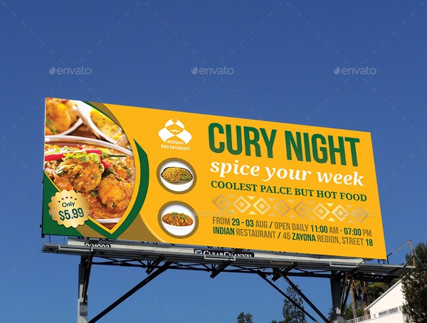 indian restaurant billboard