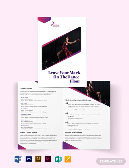 insignia dance studio bi fold brochure template