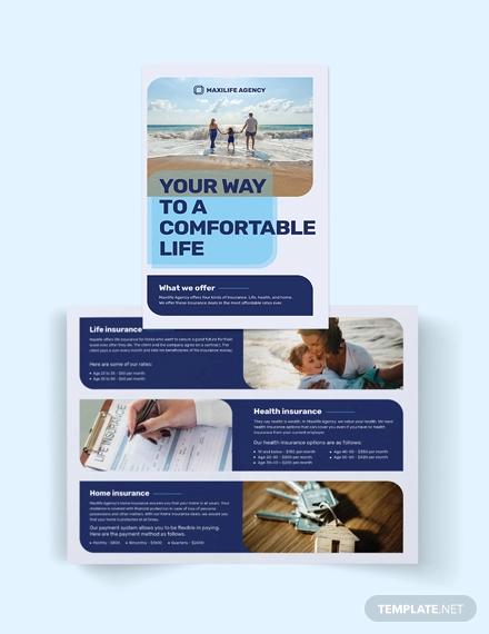 insurance agency bi fold brochure template