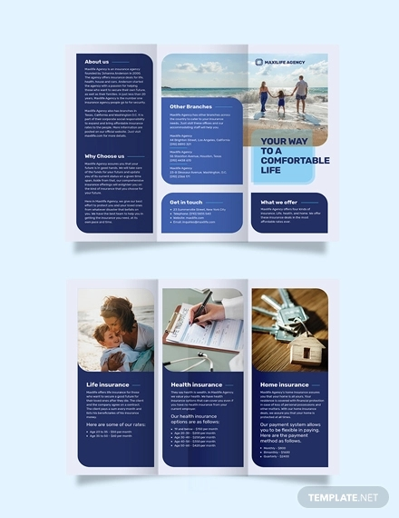insurance agency tri fold brochure template