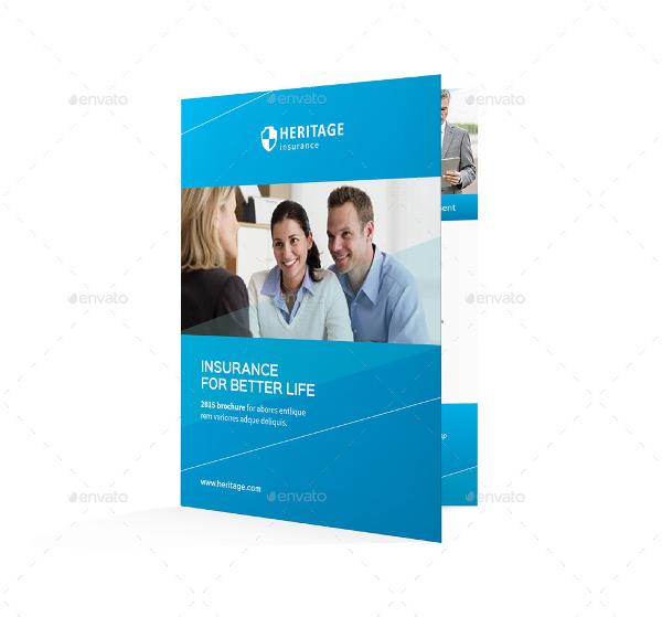 insurance company bifold half fold brochure