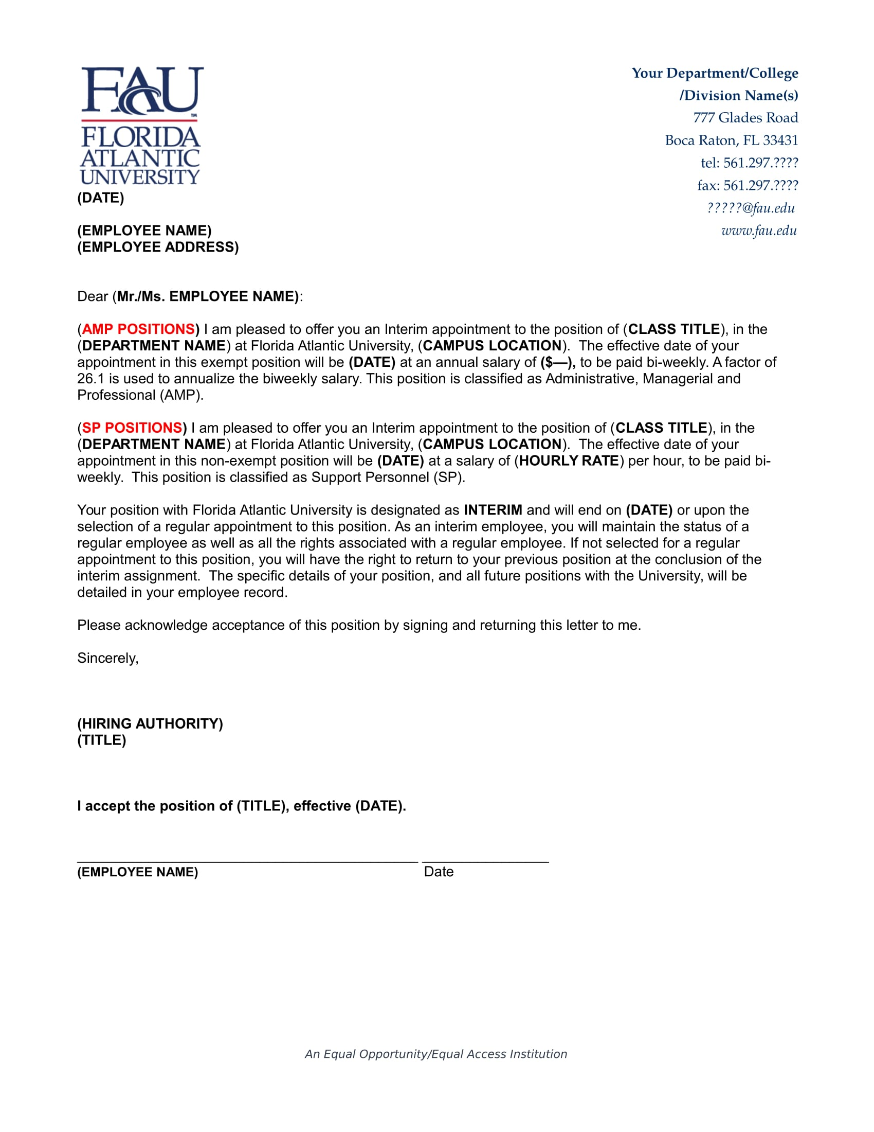 interim appointment letter
