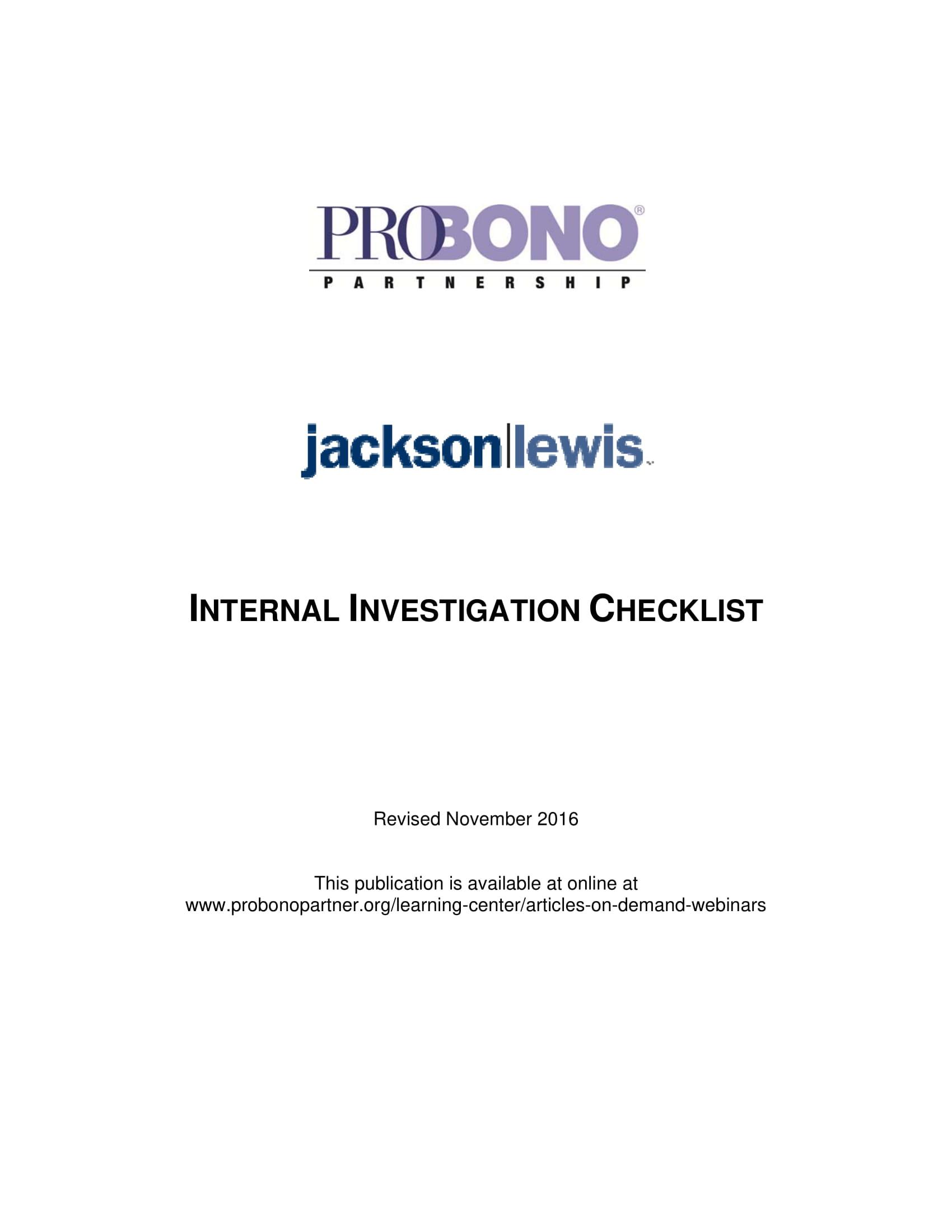 internal investigation of harassment report checklist