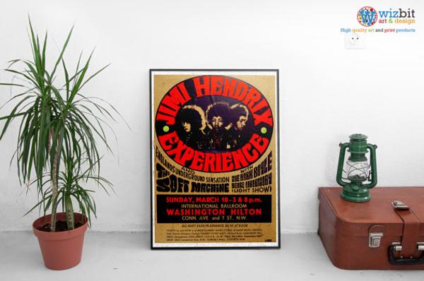 jimi hendrix retro billboard gig poster
