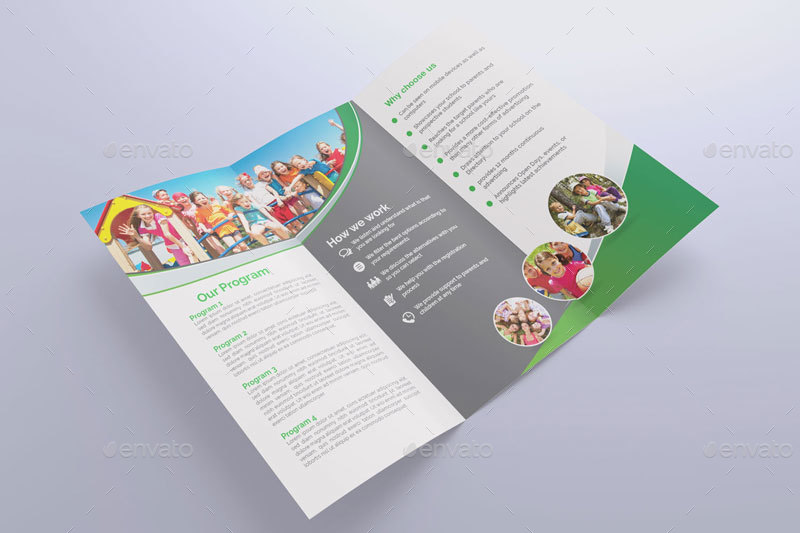 kids camp education trifold brochure example