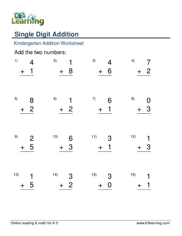 kindergarten addition worksheet example