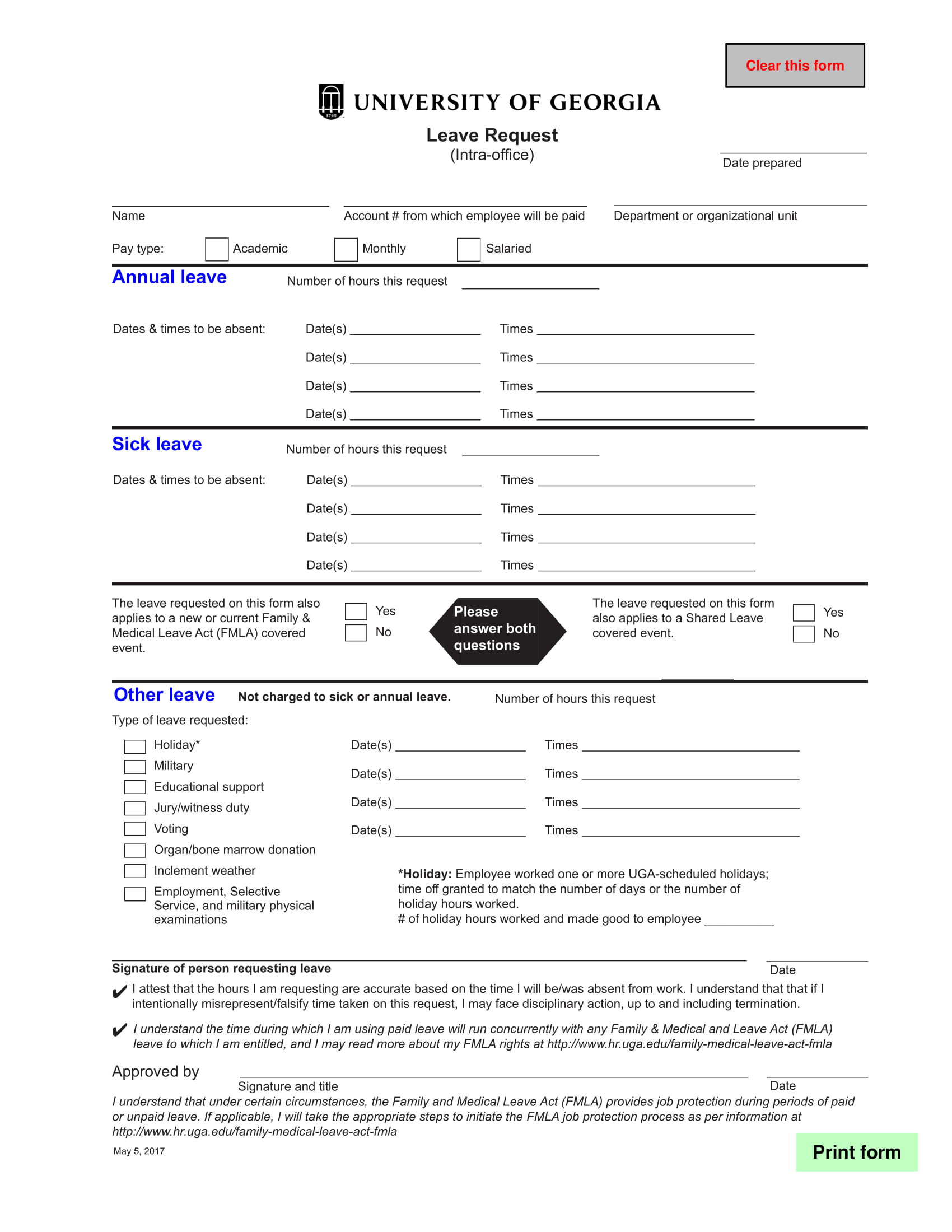 Leave Request Form Example For Vacation