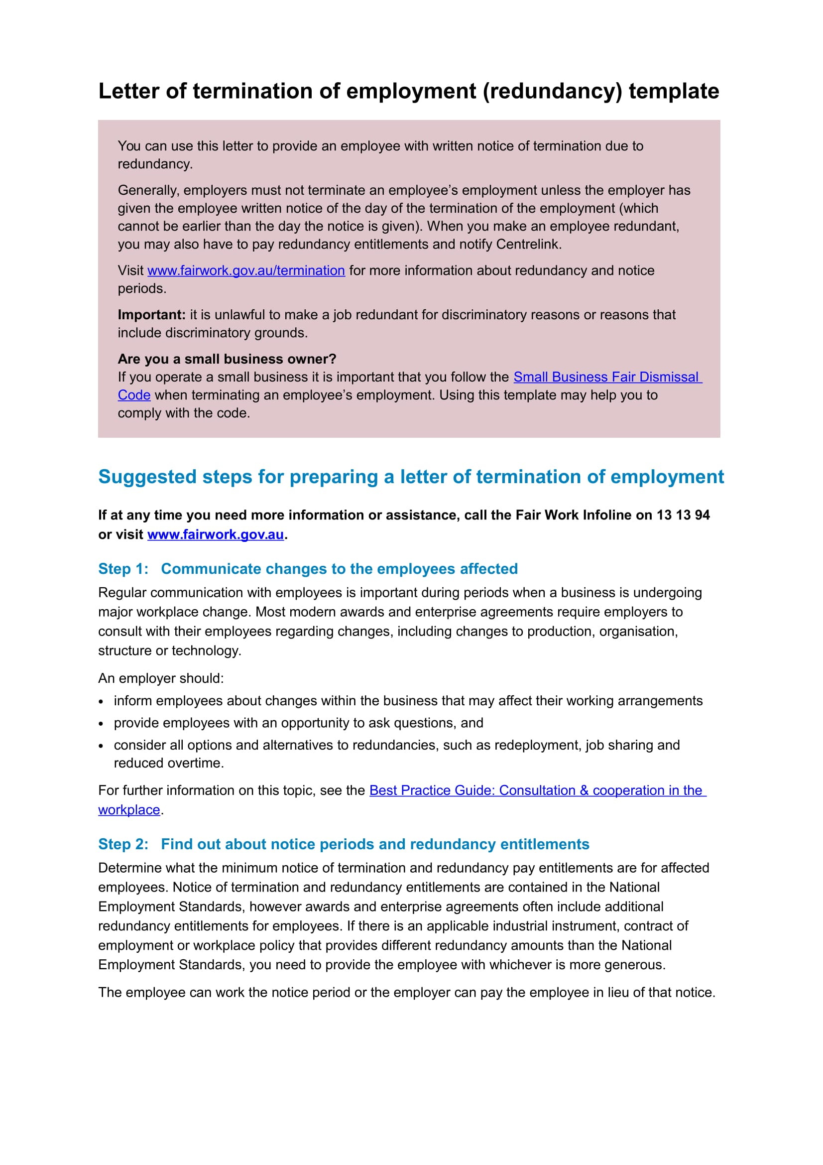 letter of termination of employment redundancy template