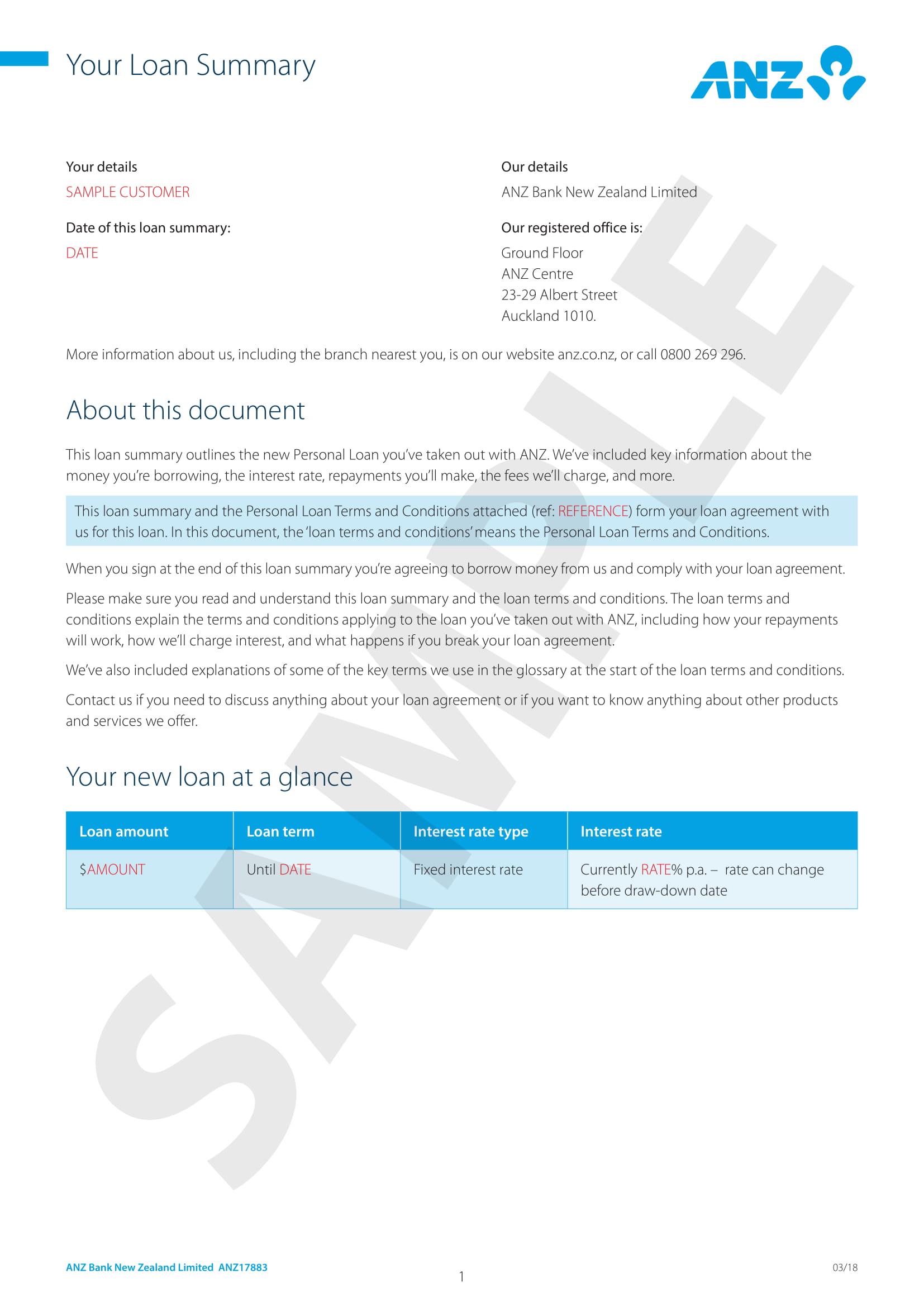 loan summary