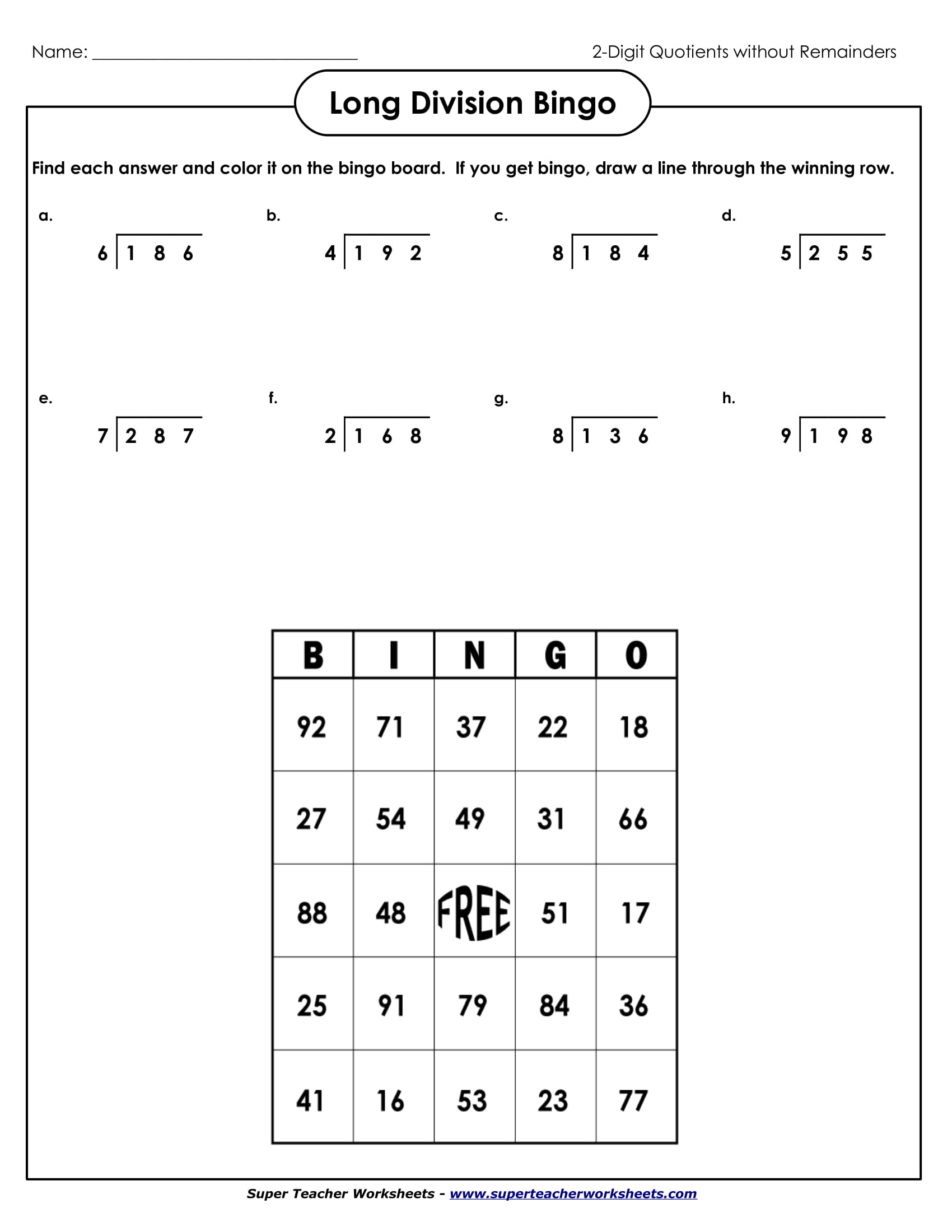 long division bingo sample worksheet