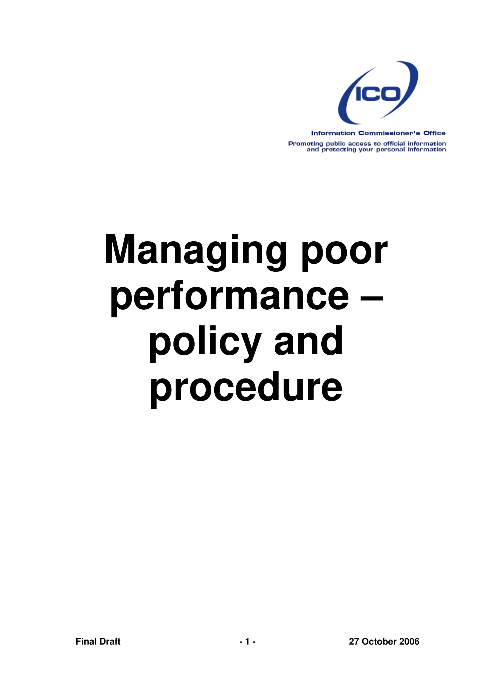 managing poor performance policy and procedure example