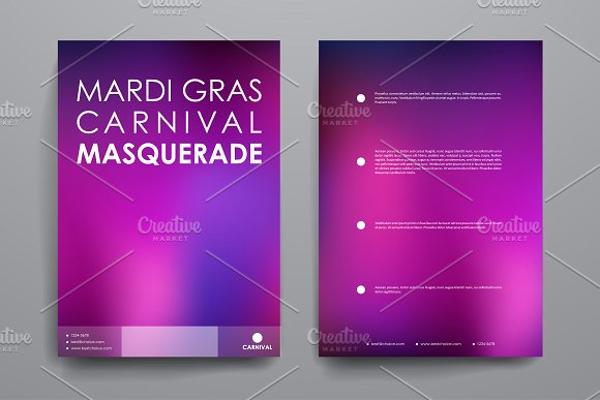mardi gras carnival masquerade brochure template