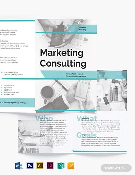 marketing consultant bi fold brochure template