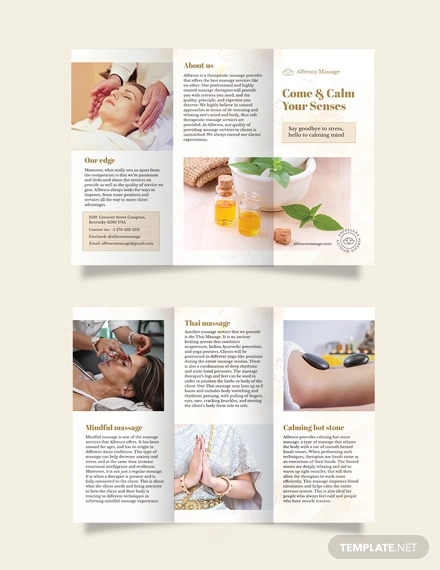 massage salon tri fold brochure template