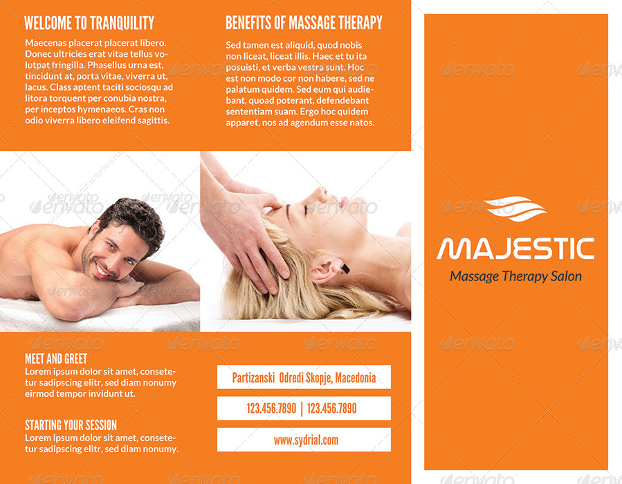 Massage Therapy Salon Sample Tri Fold Brochure Example