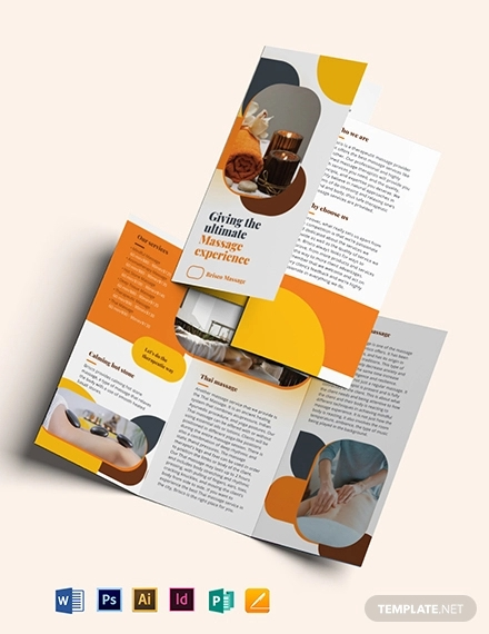 massage tri fold brochure template