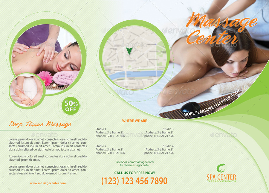 massage and spa center sample tri fold brochure example