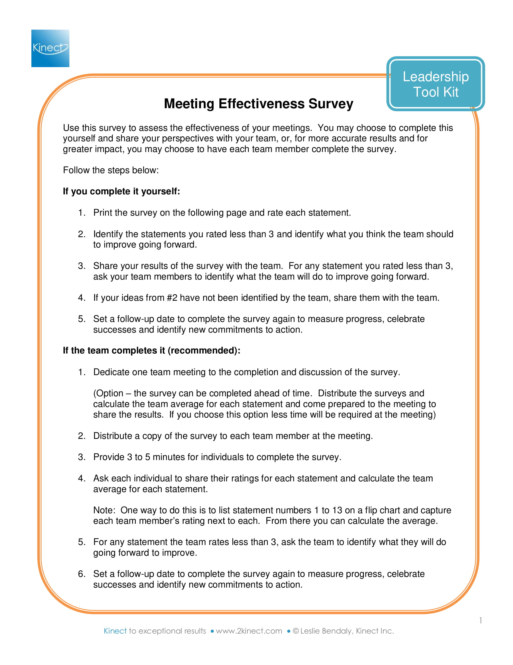 meeting effectiveness survey example 1