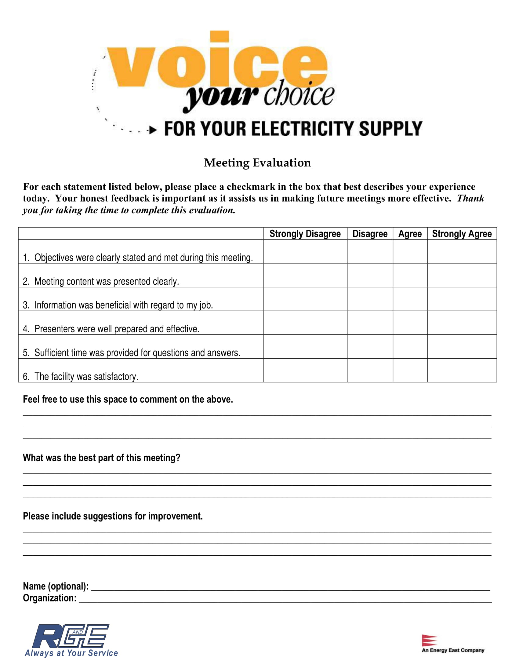 Meeting Evaluation Form Example