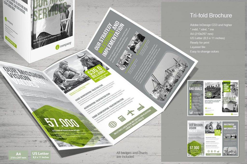 modern business tri fold brochure