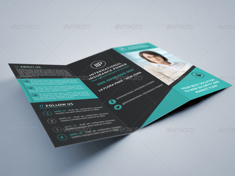 modern and clean business tri fold brochure