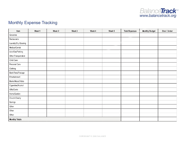 monthly expense tracking sheet example
