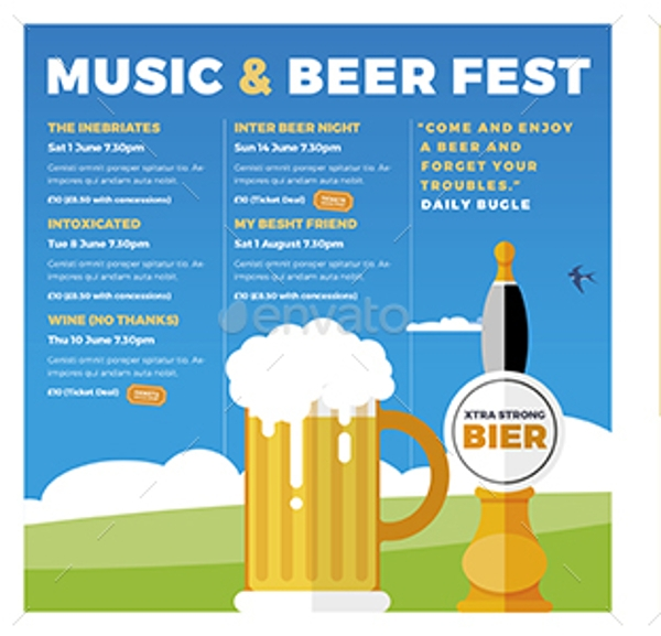 music and beer festival brochure